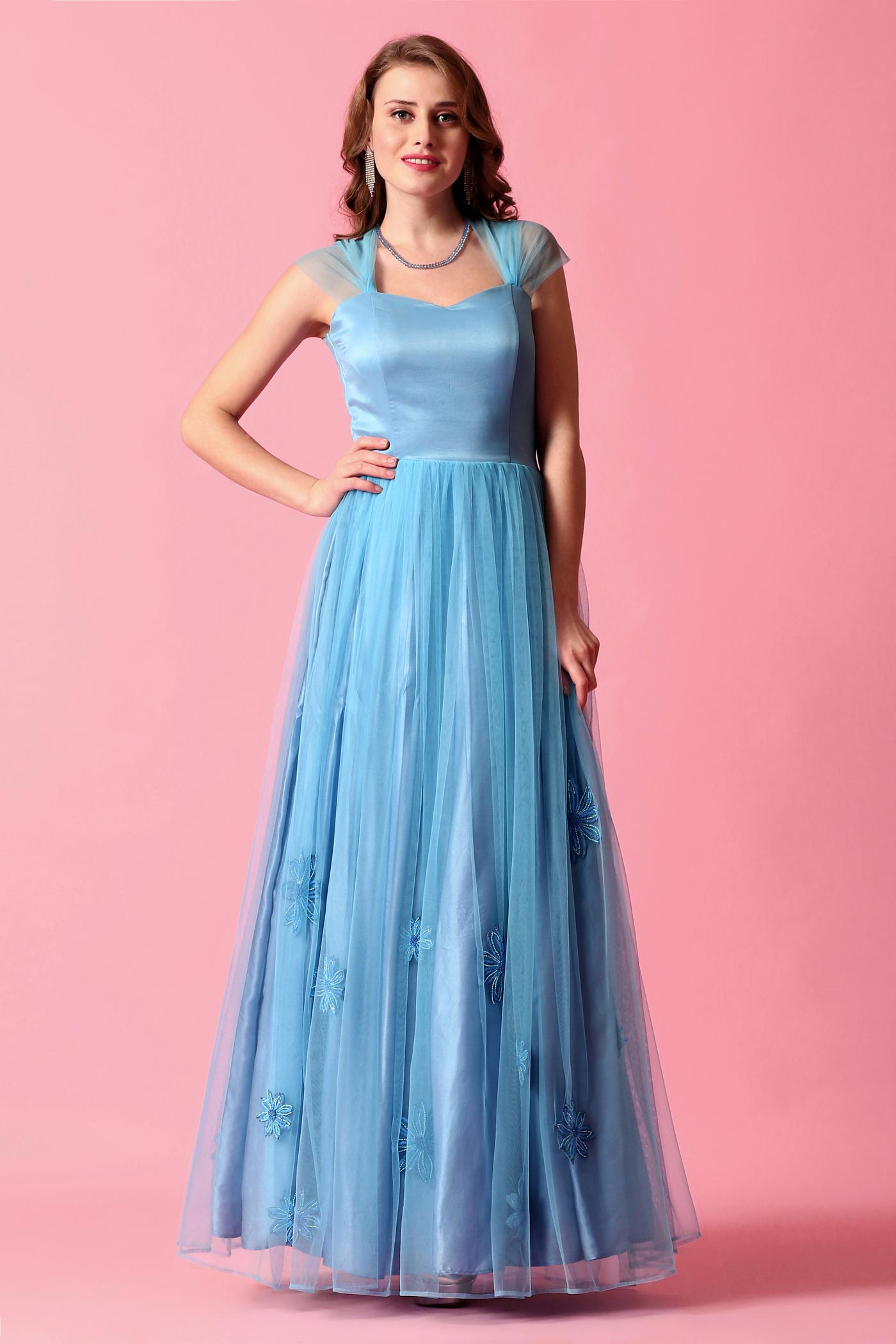 Cerulean Blue Gown With Floral Hand Work - Anjini Sharma