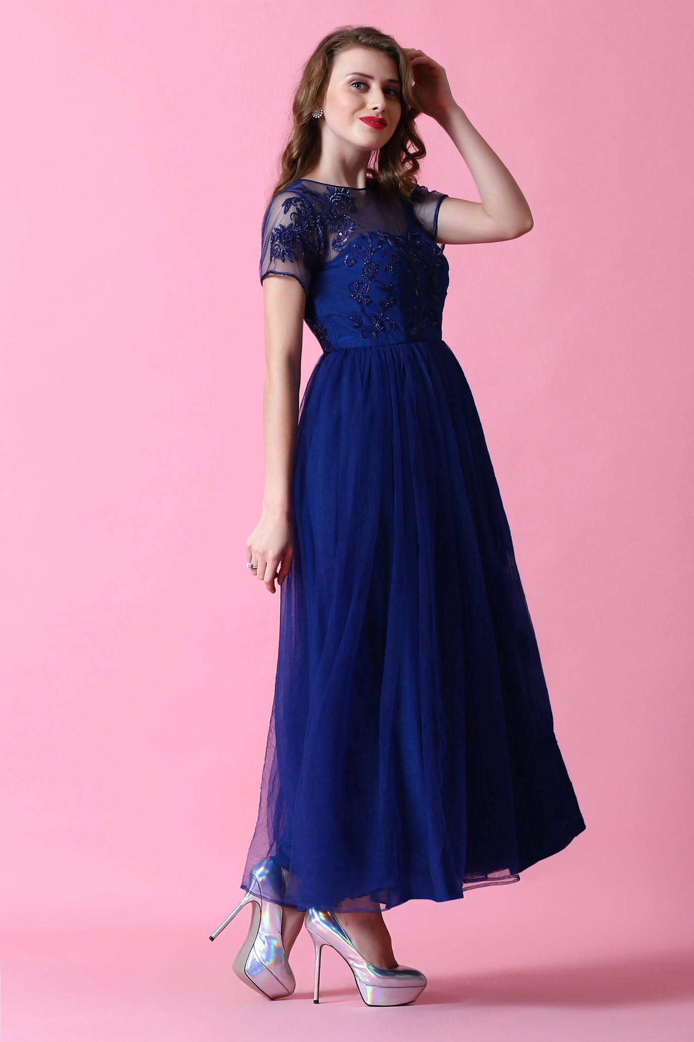 Midnight Blue Gown With Sequins And Cutdana Threadwork - Anjini Sharma